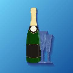 Illustration of a bottle of champagne and glasses