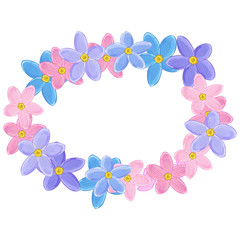 Floral wreath made of forget-me-not flowers