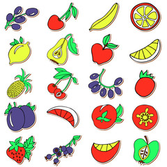 Hand drawn collection of cartoon colorful fruits