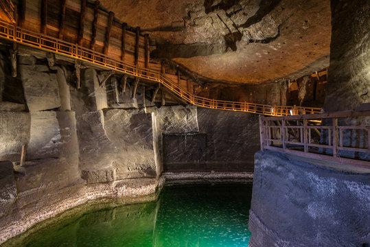 Lake in the salt mine of Wieliczka, Poland.
