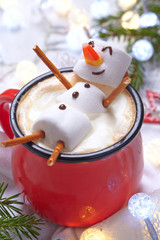 Printed roller blinds Chocolate Hot chocolate with melted snowman