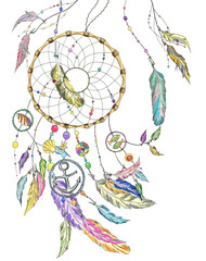 Dream catcher with items from the sea and feathers. Vector.
