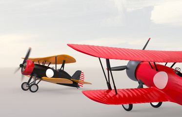Fotobehang Helicopter Two biplanes on the ground. Clipping path available.