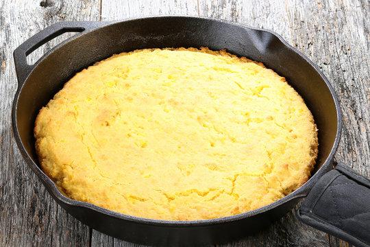 Corn bread baked in flat iron skillet