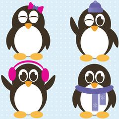 winter vector set of penguins