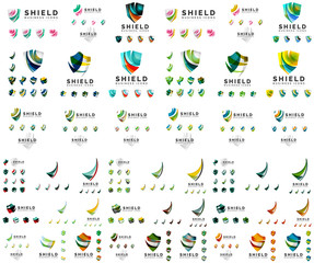 Mega set of protection shield logo concepts. Color flowing wave design icons on white