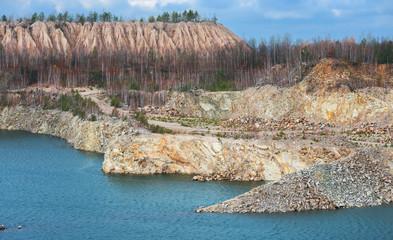 Lake in ppen pit stone mine. Ukraine