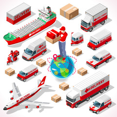 Isometric Worldwide Express Delivery Concept 3D Flat Illustration Logistic Transportation Icon Set Logistics Service Vehicles Fleet truck Airplane Object Shipment Fast Vector Infographic App Image