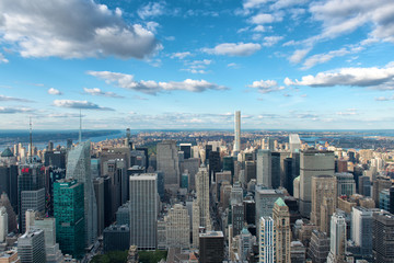 Overview of New York City with Blue Sky and Clouds