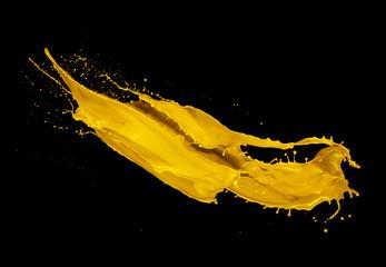 In de dag Vormen Yellow paint splash on black background
