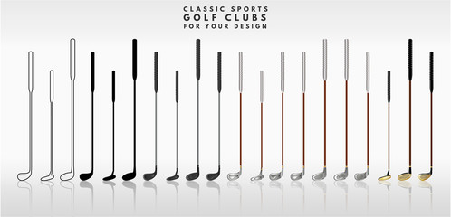 Playing putter golf. Different colors and shapes for your design