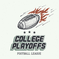 College playoffs. American football or rugby ball hand-drawn illustration in vintage style