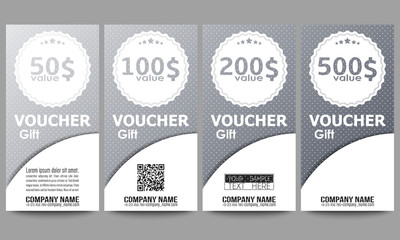 Set of modern gift voucher templates. Dotted design background