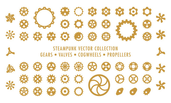 Steampunk Collection (isolated on white) - Gears, Valves & Propellers
