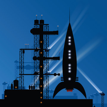 A retro cartoon rocket silhouette on a launch pad, preparing to blast off to outer space.