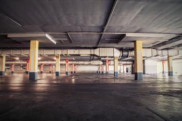 Parking garag interior, industrial building,Empty underground pa