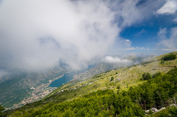 Aerial view on Boka Kotor bay from the Lovcen mountains