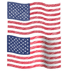 Waving Hand Draw Sketch Flag of United State of America