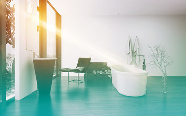 Modern bathroom interior with bright sun flare
