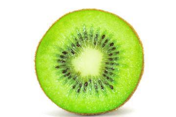 Cross section of ripe kiwi on white background