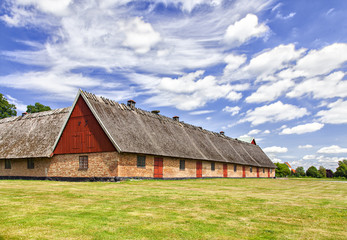 Old thatched roof barn