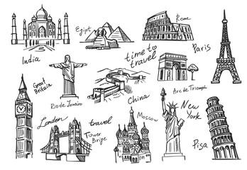 Fototapeta  travel icon sketch