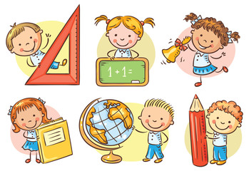 Wall Mural - Set of cartoon school kids holding different school objects