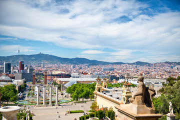 Les Quatres Columnes and View of Barcelona, Spain