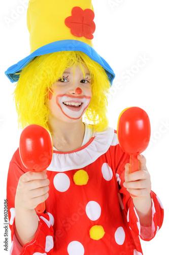 Kleiner Clown In Kostum Und Perucke Zu Karneval Und Fasching Stock