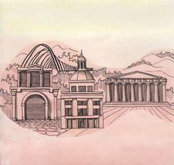 the panoramic view of Athens city of Greece country of European Union hand drawn isolated on the color background