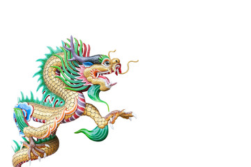 colorful Chinese dragon statue isolated on white,with clipping p