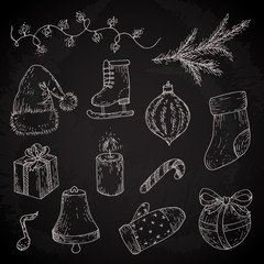 Christmas sketches set. Vector doodles of light, socks, gift, mitten, candle, bell, branch, candy, ball, hat, ice skate on chalkboard