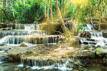 Wall Mural - Waterfall in Tropical forest, Kanchanaburi, Thailand