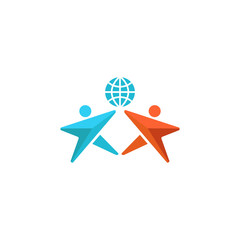 Two man logo globe, hands up together, people friendship symbol, abstract social community emblem