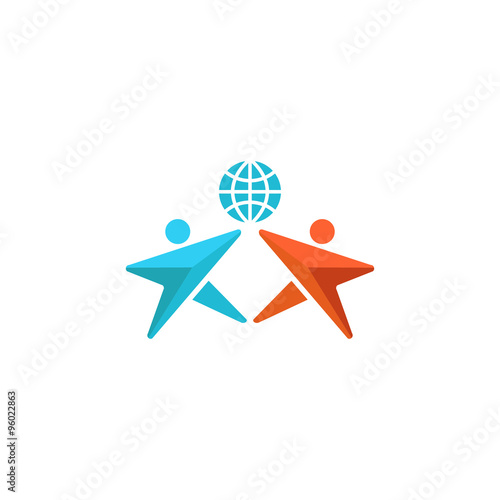 Two man logo globe hands up together people friendship symbol two man logo globe hands up together people friendship symbol abstract social community sciox Images