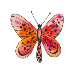 Watercolor red butterfly