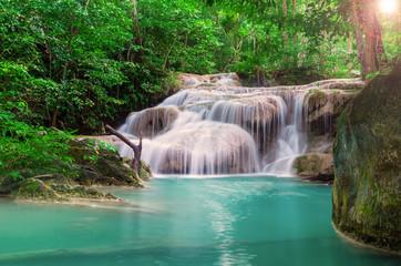 Wall Mural - Waterfall in the deep Jungle at Erawan National Park