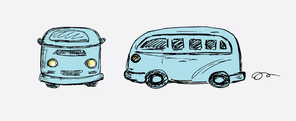 Hand drawn retro van