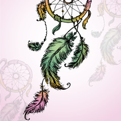 colorful illustration of dream catcher.