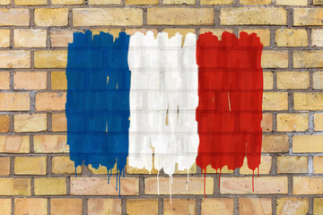 French flag rendered on a brick wall background