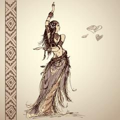 Dancing girl, tribal, hand drawing