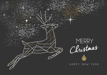 Merry christmas new year deer art deco outline