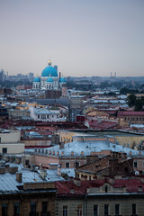 Panorama photo during twilight over the roofs of St Petersburg, Russia