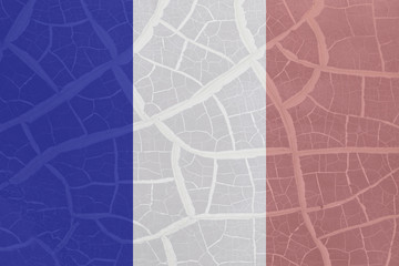 French flag on crack background, pray for Paris