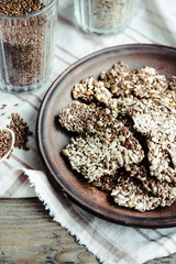 flaxen bars with sunflower seeds, sesame seeds and spices, healt
