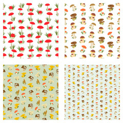 Collection of seamless backgrounds on the topic of mushrooms