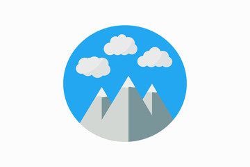 Landscape with mountains and clouds on flat design.