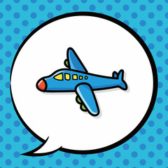 airplane color doodle, speech bubble