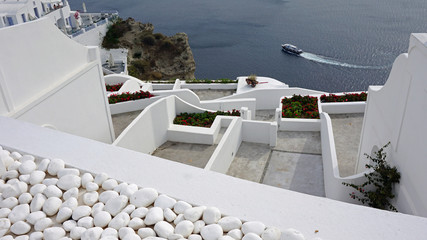 viewpoint in oia village on santorini island