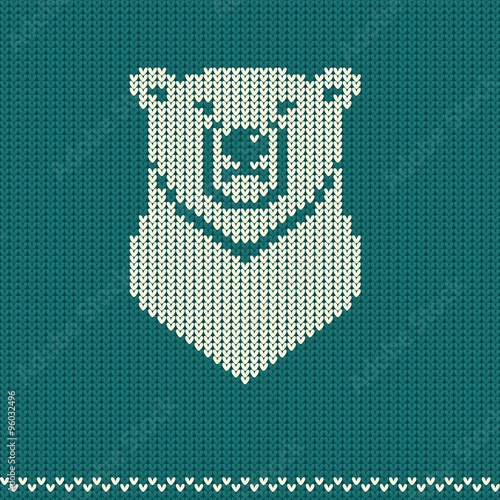 Knitted Pattern With Polar Bear Stock Image And Royalty Free Vector